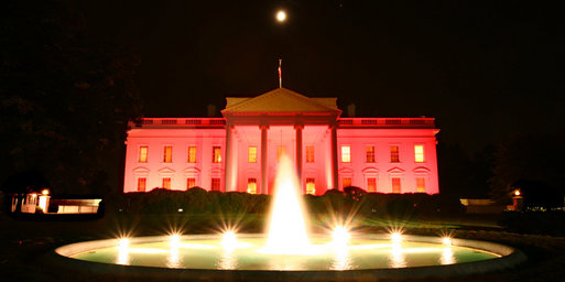 White House decorated pink in honor of National Breast Cancer Awareness Month in October 2008