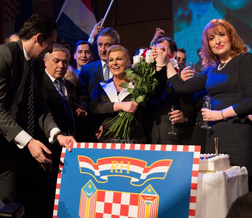 11 January 2015 Victory Night Centre: Kolinda Grabar-Kitarovic, President elect of Croatia Right: Jadranka Juresko-Kero, Election Campaign Leader Standing behind Grabar-Kitarovic to left: Tomislav Karamarko, President of Croatian Democratic Union/HDZ