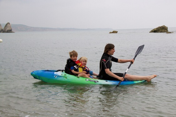 This parent kayaks with her kids